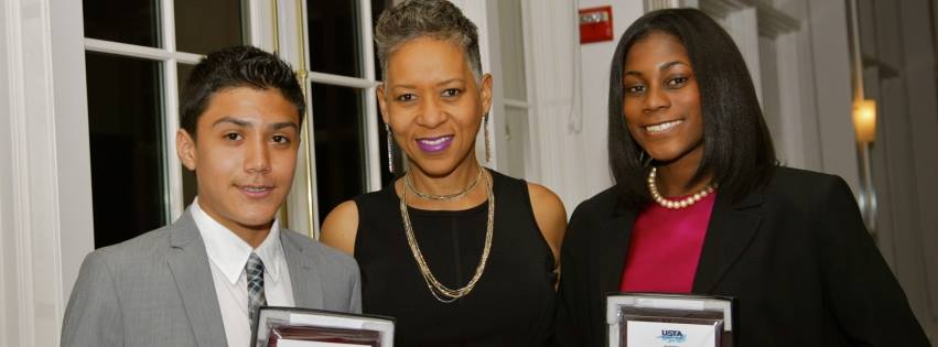 Scholarship Winners Gabriel Sifuentes (L) and Isis Gill (R) with USTA's First VP, Katrina Adams (center)