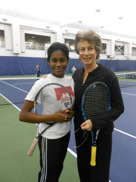 Isis Gill with tennis legend Virginia Wade at a CityParks Tennis Clinic in 2012
