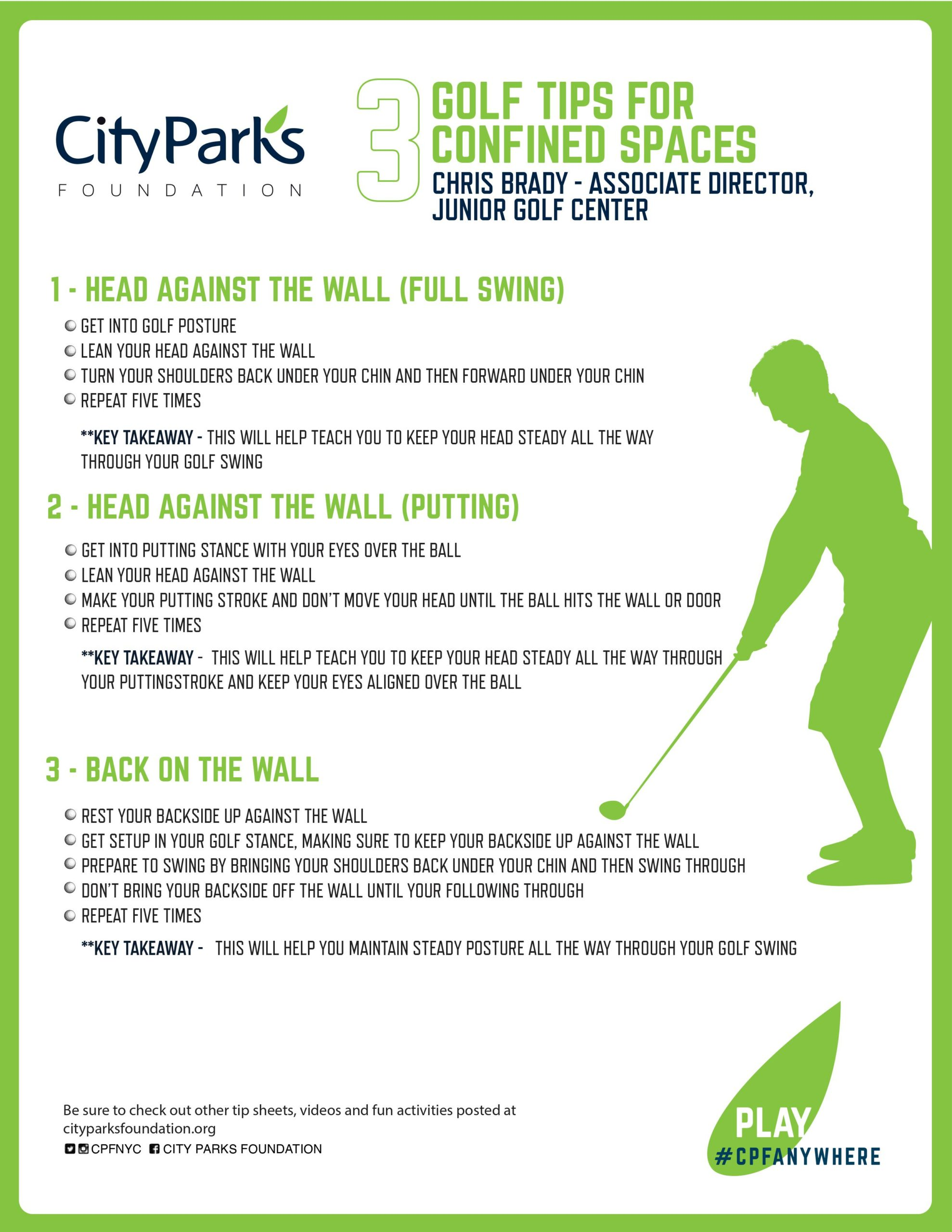 Thumbnail image of a custom tip sheet on how to practice golf indoors